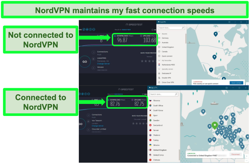 Screenshot of nordvpn successfully maintaining fast speeds while connected to a UK server.