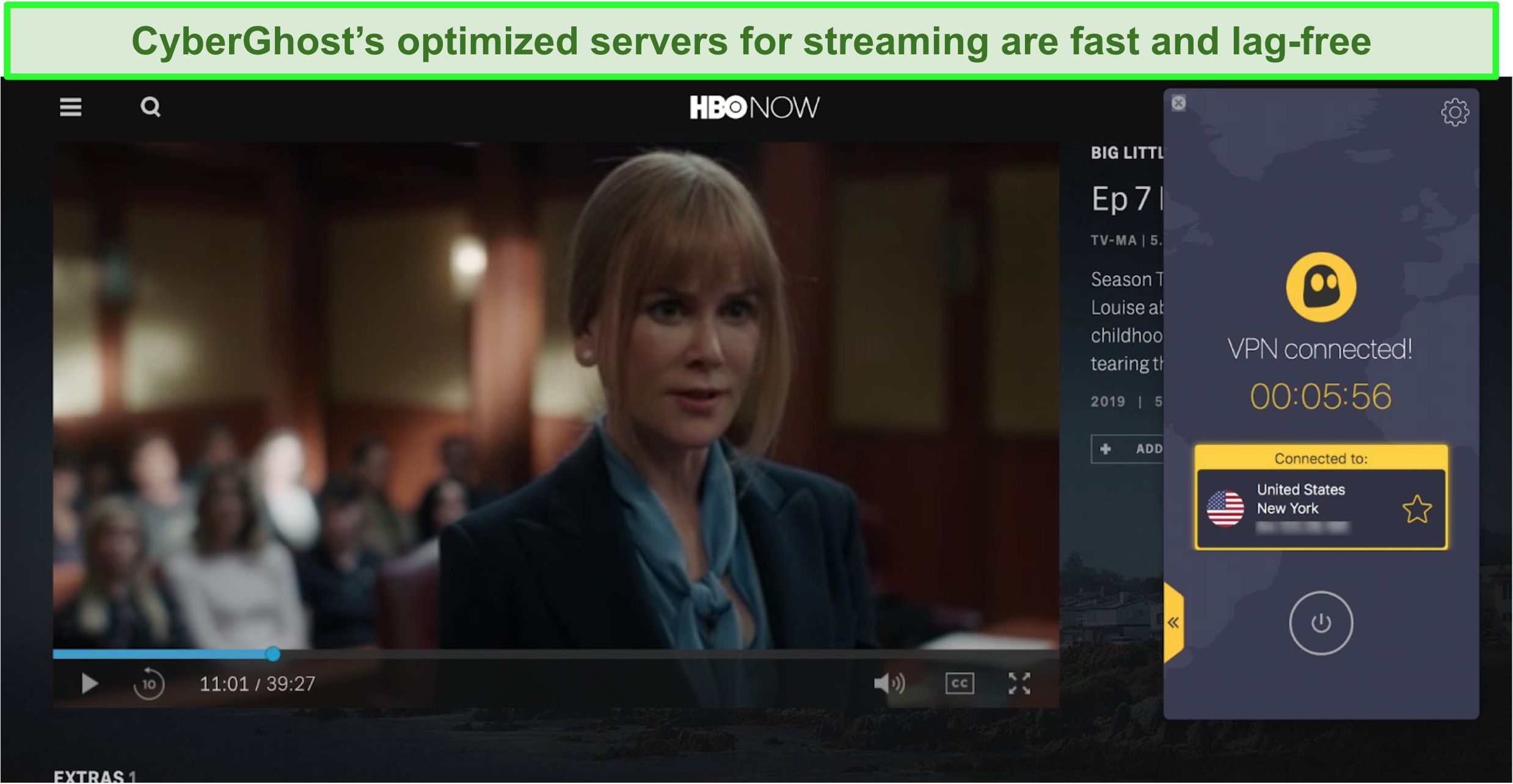 Screenshot of HBO Now playing Big Little Lies with CyberGhost connected to a US server