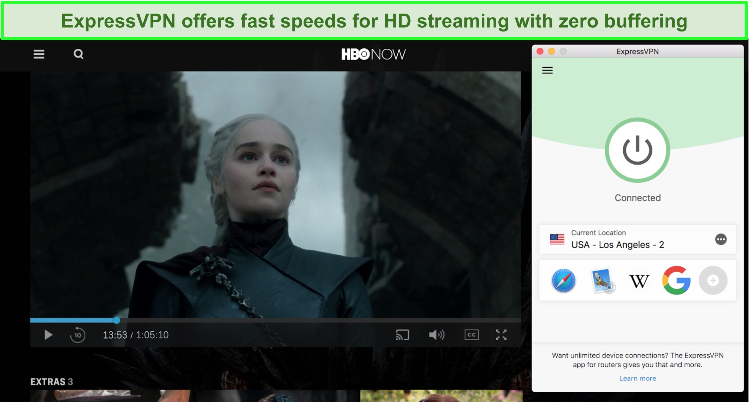 Screenshot of HBO Now playing Game of Thrones with ExpressVPN connected to a US server