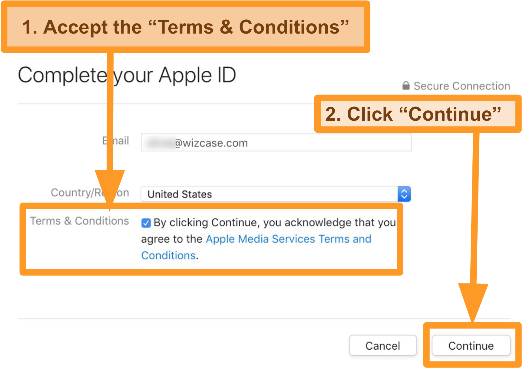 Screenshot of process of agreeing to terms and conditions to complete Apple ID registration for the App Store.