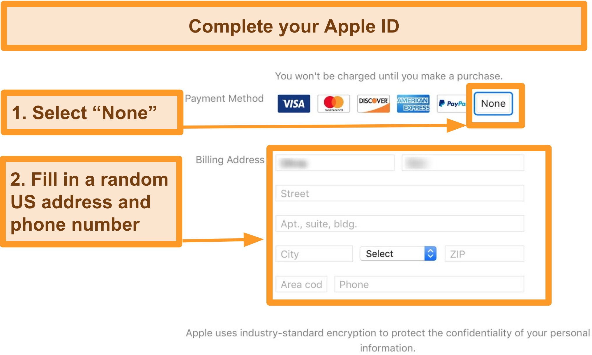 Screenshot of process of payment to complete Apple ID registration for the App Store.