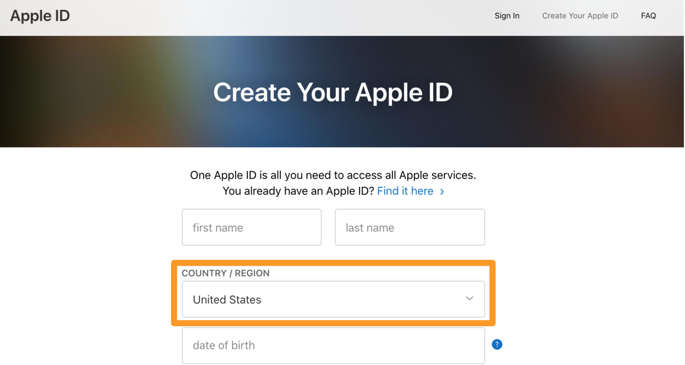 Screenshot of process to create and Apple ID in the App Store.