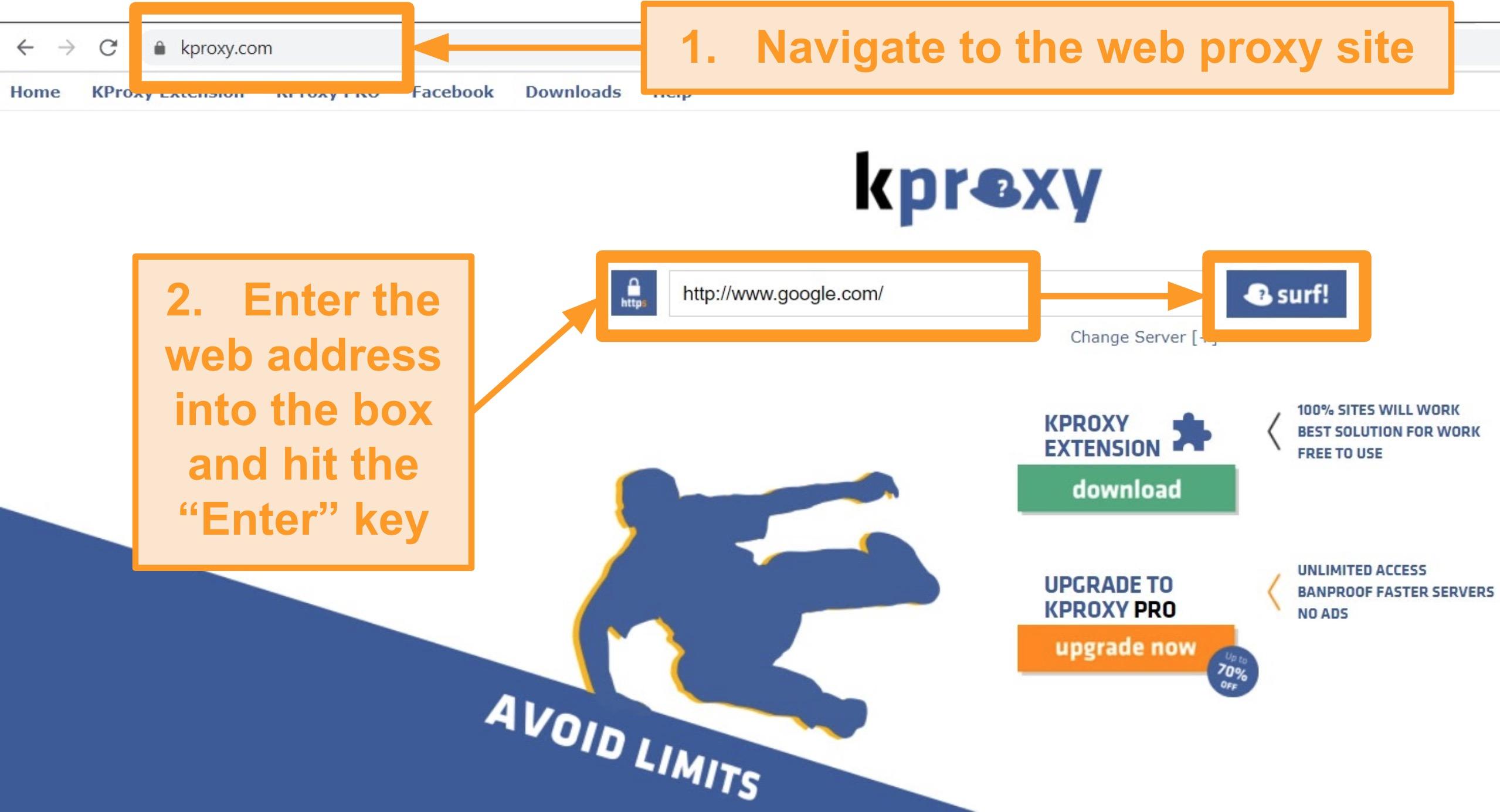 Screenshot of KProxy landing page