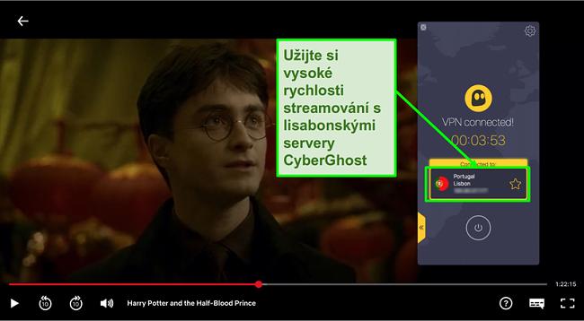 Snímek obrazovky s VPN Cyberghost připojeným k portugalskému serveru a streamováním Harryho Pottera na Netflixu