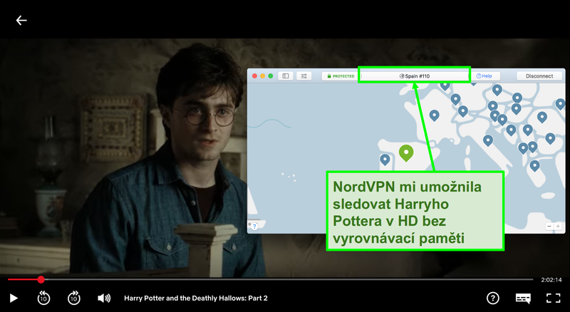 Snímek obrazovky NordVPN připojeného k serveru Španělska a streamování Harryho Pottera na Netflixu
