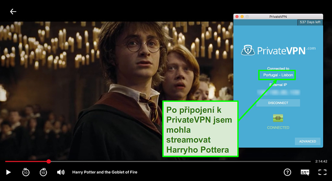 Snímek obrazovky s PrivateVPN připojeným k portugalskému serveru a streamováním Harryho Pottera na Netflixu