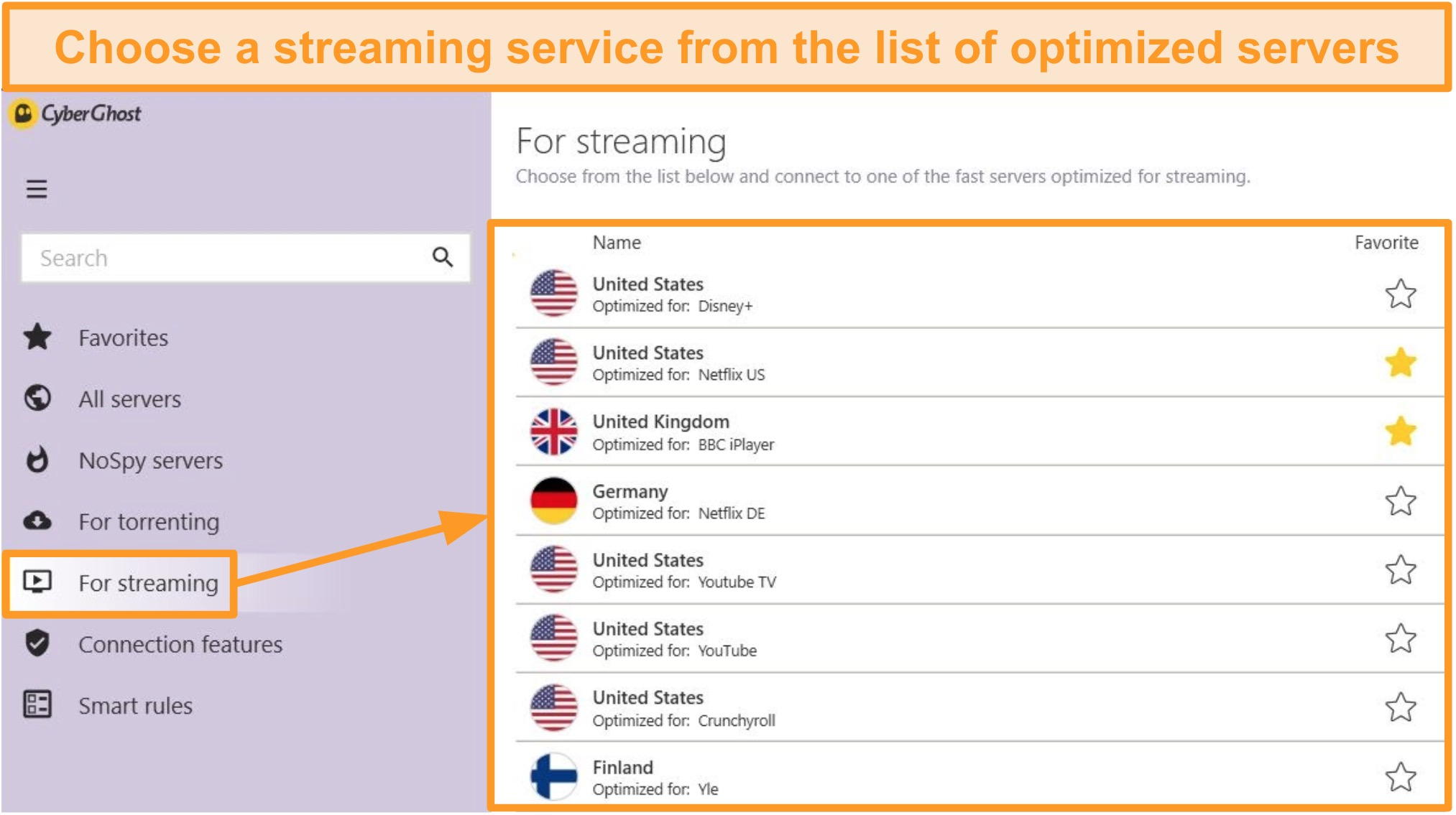Screenshot of CyberGhost's optimized streaming servers on the Windows app