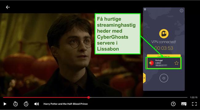 Skærmbillede af Cyberghost VPN forbundet til Portugal server og streaming Harry Potter på Netflix
