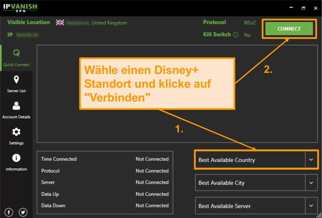 Wählen Sie einfach ein Disney+ Land und klicken Sie auf verbinden mit IPVanish.