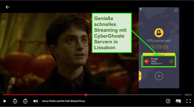 Screenshot von Cyberghost VPN mit Portugal-Server verbunden und Streaming Harry Potter auf Netflix