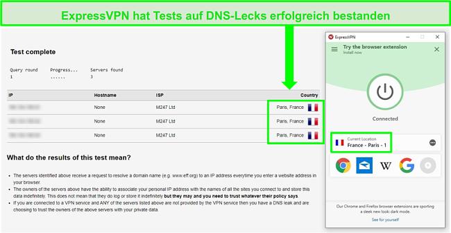 Screenshot von ExpressVPN, der mit einem Pariser Server verbunden ist und einen DNS- und IP-Adresslecktest besteht