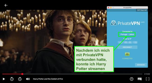 Screenshot von PrivateVPN mit Portugal-Server verbunden und Streaming Harry Potter auf Netflix