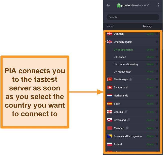 Screenshot of PIA's list of servers