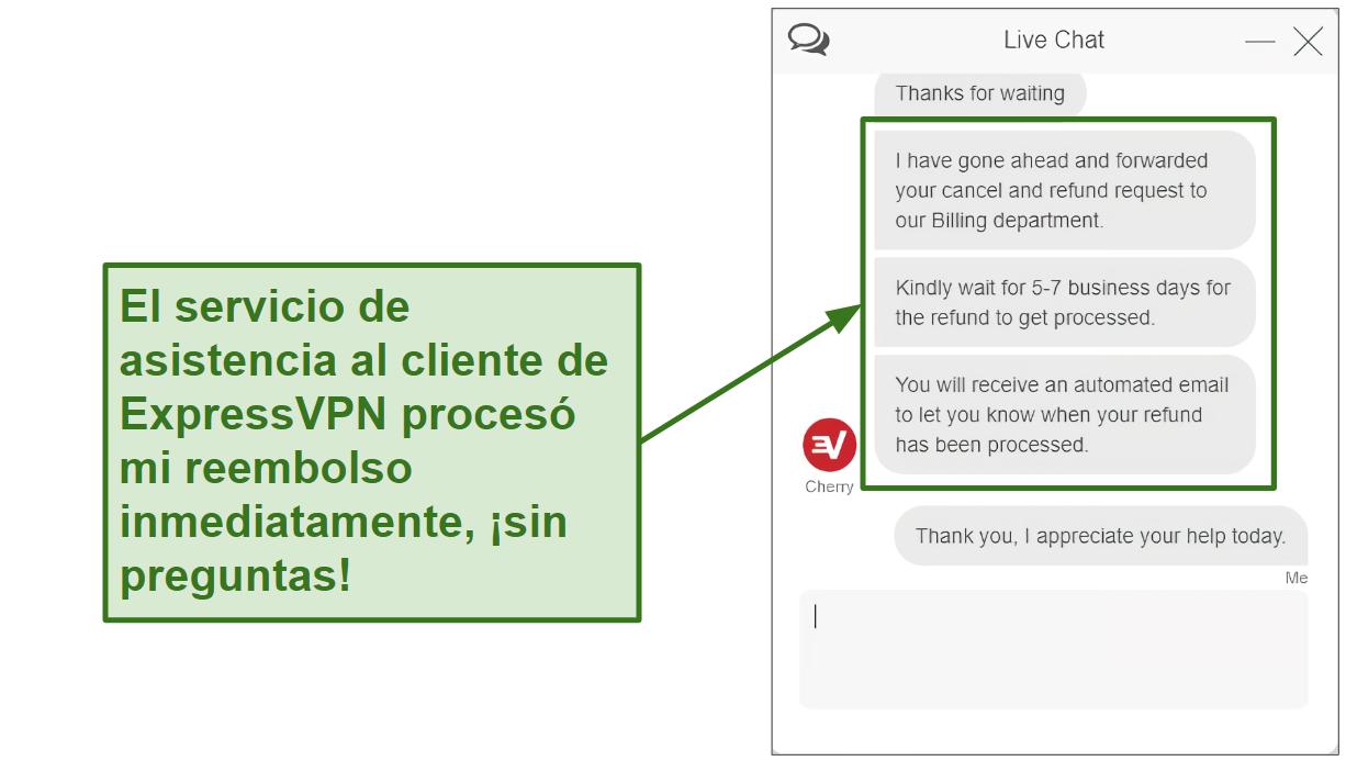 Captura de pantalla del reembolso del chat en vivo de ExpressVPN que se está procesando