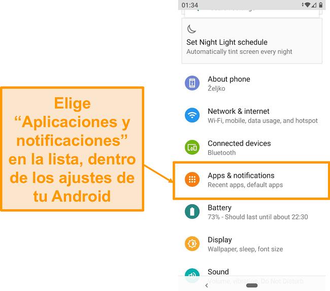 Captura de pantalla de la lista de ajustes de Android