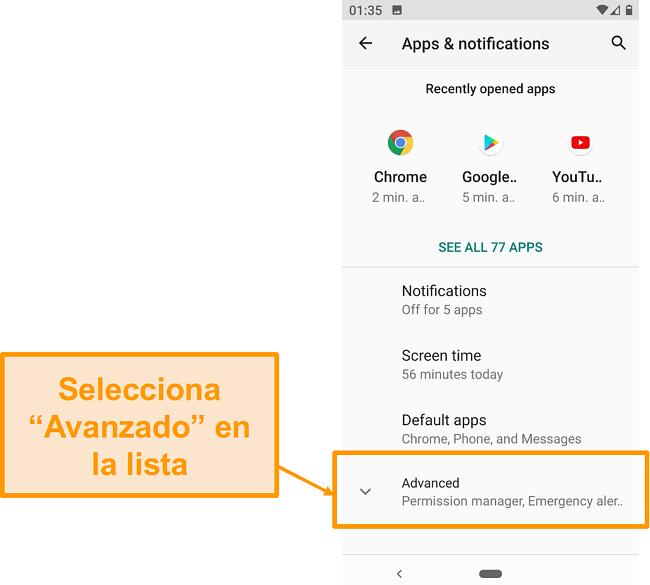 Captura de pantalla de la configuración avanzada en Android