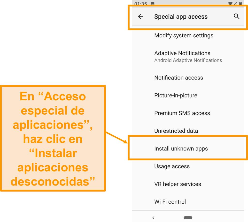 Captura de pantalla del acceso a aplicaciones especiales en Android