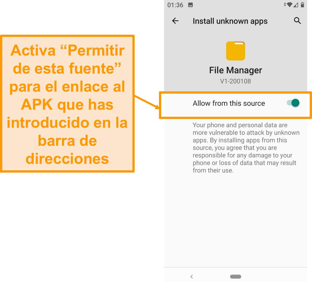 Captura de pantalla del administrador de archivos para descargas en Android