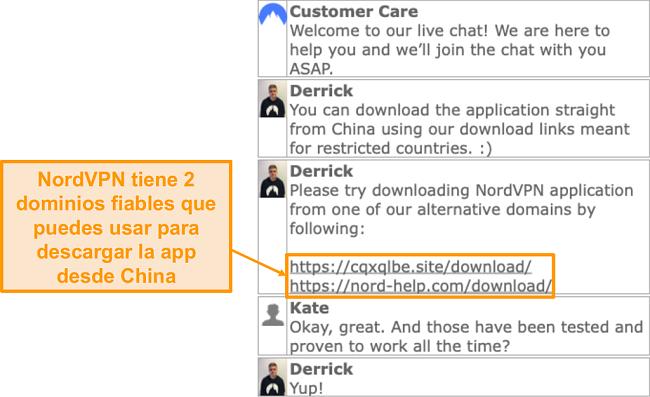 Captura de pantalla de la función de chat en vivo de NordVPN