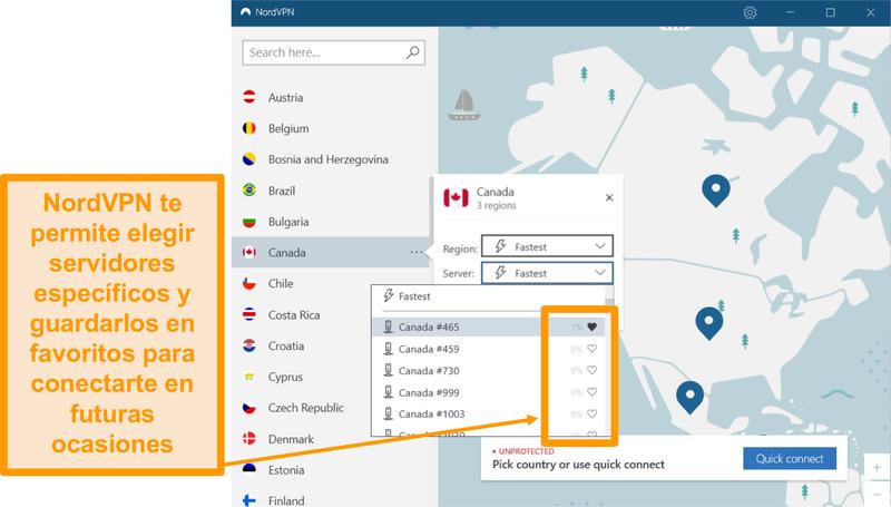Captura de pantalla de la interfaz de NordVPN y ubicaciones de servidores individuales.