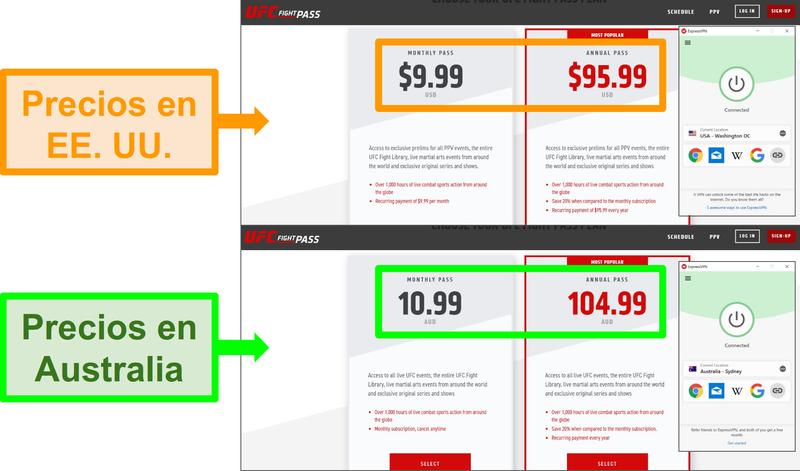 Capturas de pantalla de diferencias de precios para una suscripción debido a diferentes ubicaciones, con ExpressVPN conectado a dos servidores diferentes.