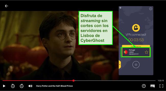 Captura de pantalla de Cyberghost VPN conectado al servidor de Portugal y streaming Harry Potter en Netflix