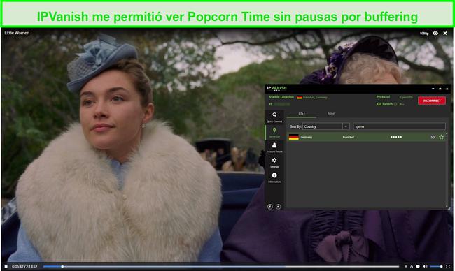 Captura de pantalla de IPVanish streaming Little Women on Popcorn Time