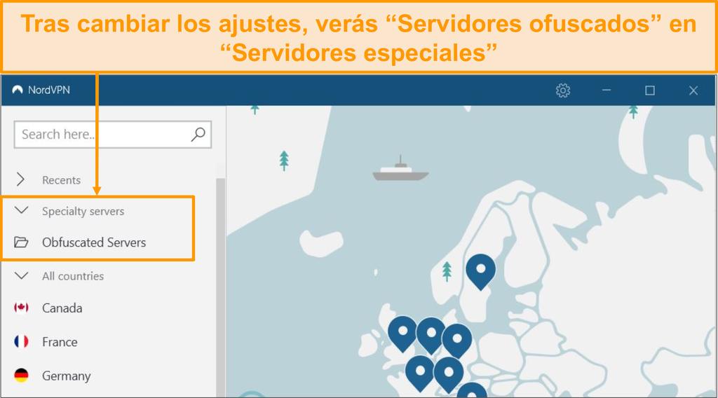 Captura de pantalla que muestra la opción de servidor ofuscado de NordVPN en el menú de servidores especializados