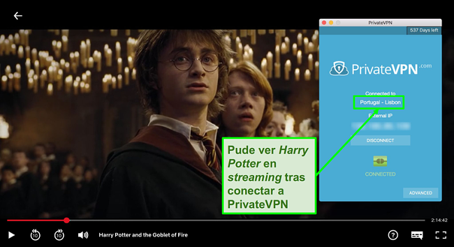 Captura de pantalla de PrivateVPN conectada al servidor de Portugal y streaming de Harry Potter en Netflix