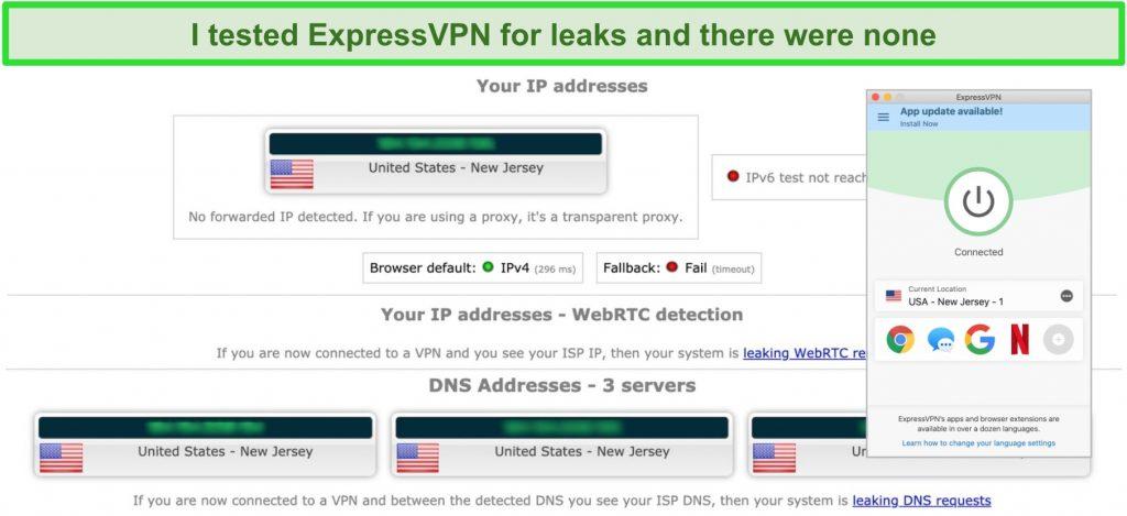 Screenshot of ExpressVPN leak test results