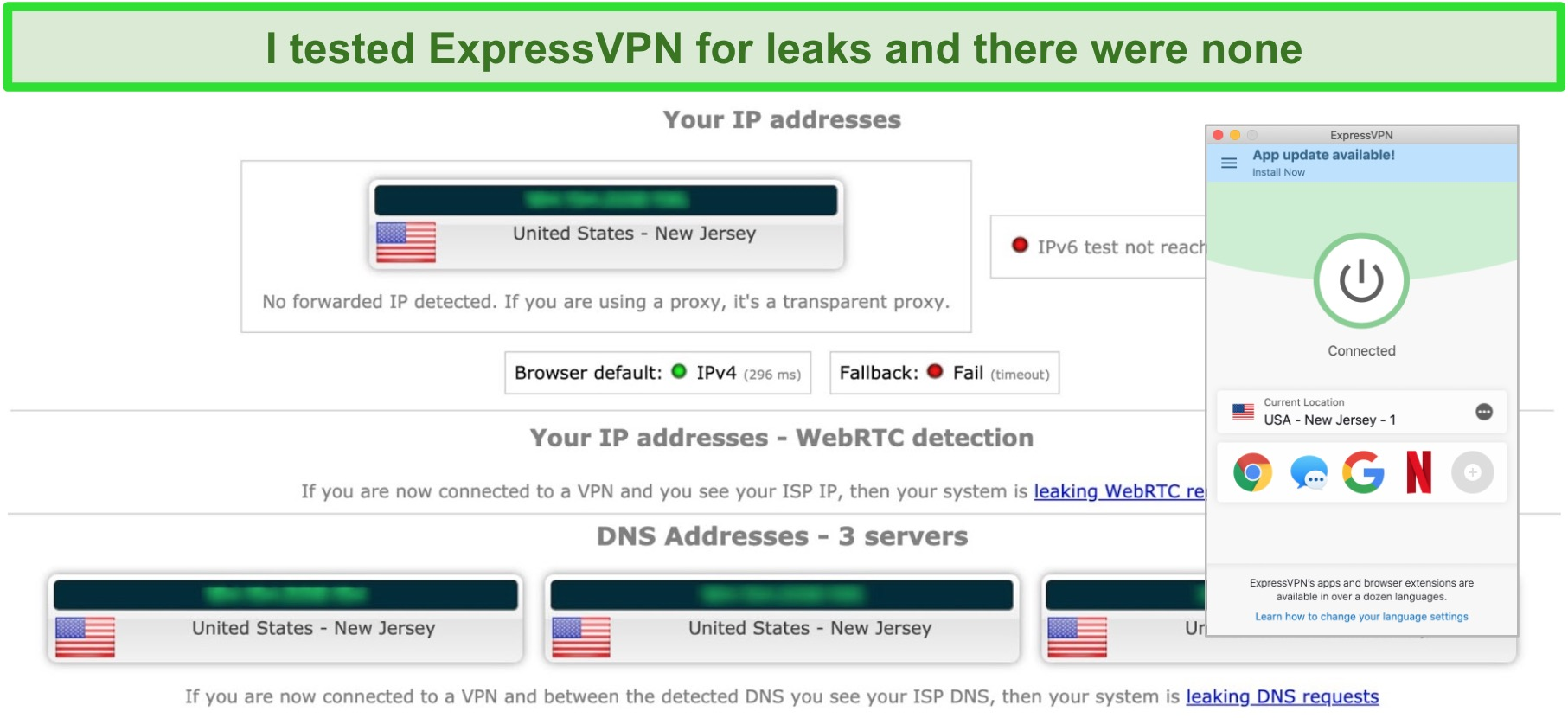 Screenshot of ExpressVPN successfully passing an IP, WebRTC, and DNS leak test while connected to a server in the US