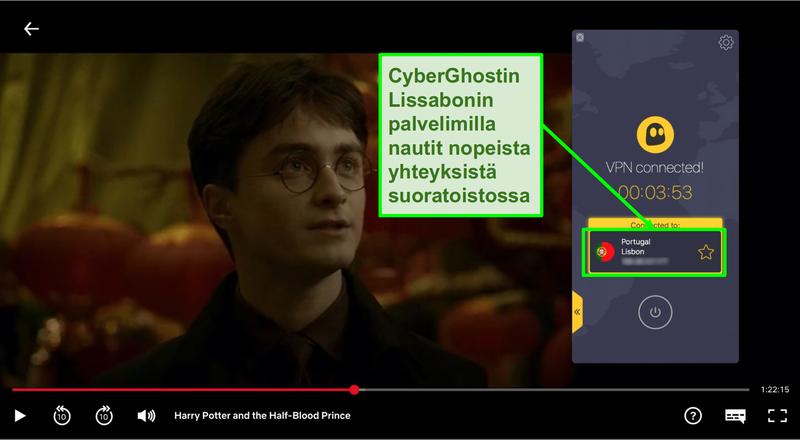 Näyttökuva Cyberghost VPN:stä, joka on yhteydessä Portugalin palvelimeen ja suoratoistaa Harry Potteria Netflixissä