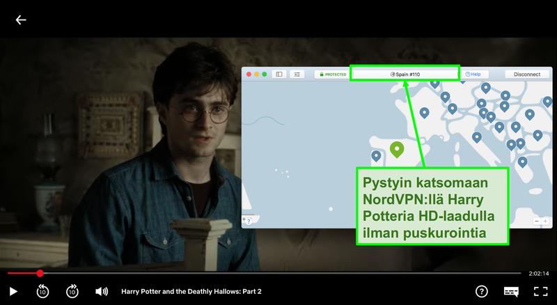 Näyttökuva NordVPN:stä, joka on yhteydessä Espanjan palvelimeen ja suoratoistaa Harry Potteria Netflixissä