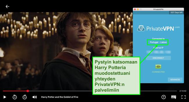 Näyttökuva PrivateVPN-yhteydestä Portugalin palvelimeen ja Harry Potterin suoratoistosta Netflixissä