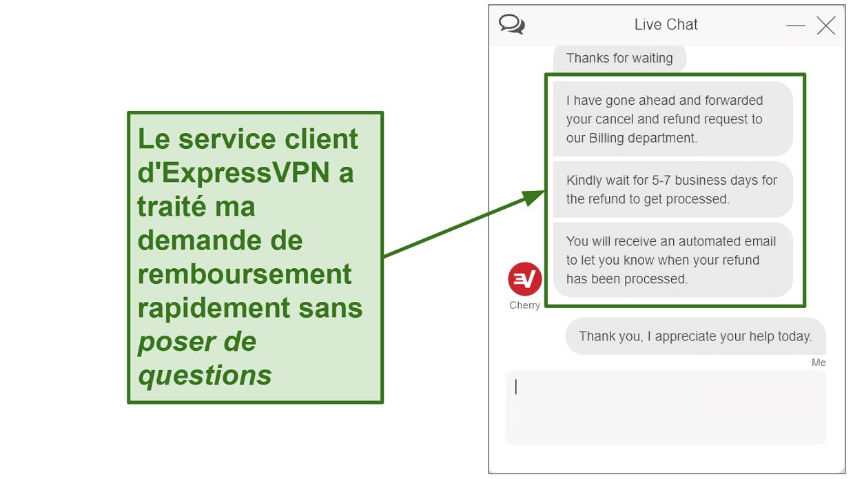 Capture d'écran du remboursement de chat en direct ExpressVPN en cours de traitement