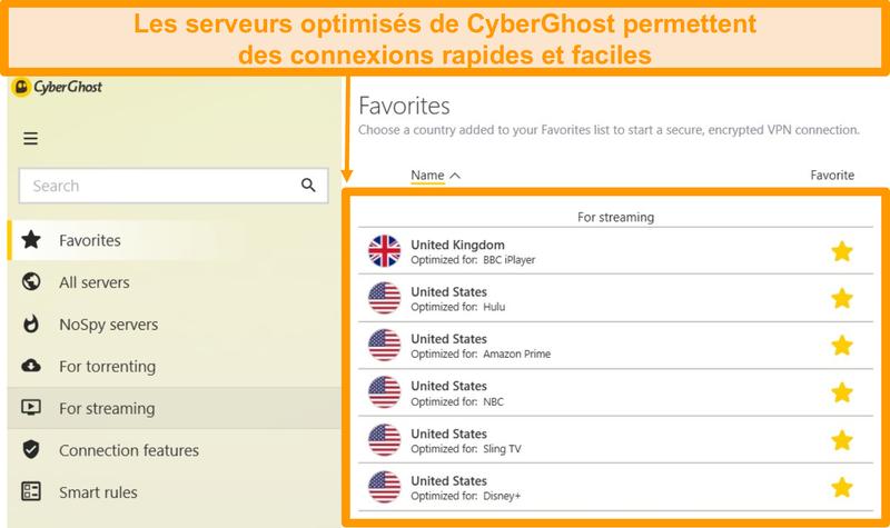 Capture d'écran de Comment regarder les serveurs optimisés CyberGhost
