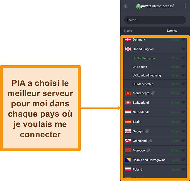 Capture d'écran de la liste des serveurs de PIA