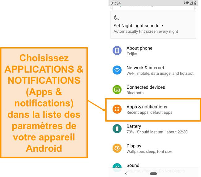 Capture d'écran de la liste des paramètres Android