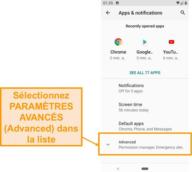 Capture d'écran des paramètres avancés sur Android