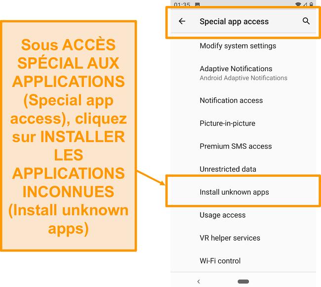 Capture d'écran de l'accès à l'application spéciale sur Android