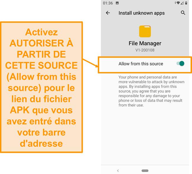 Capture d'écran du gestionnaire de fichiers pour les téléchargements sur Android
