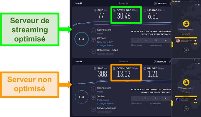 Captures d'écran des tests de vitesse Ookla et CyberGhost connectés à des serveurs américains et australiens.
