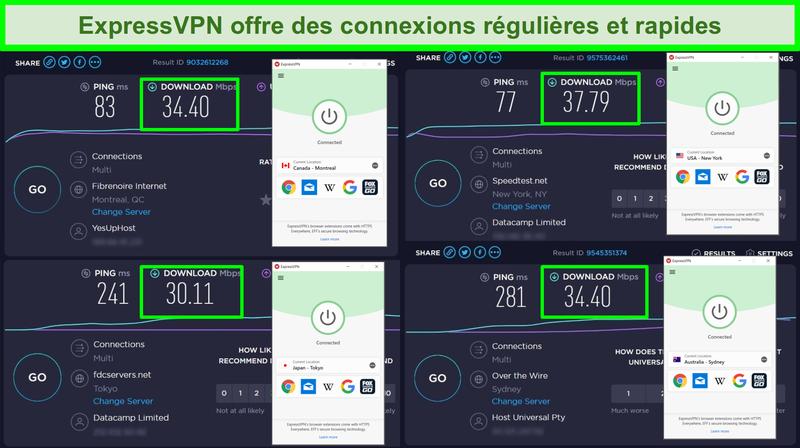 Captures d'écran des tests de vitesse Ookla avec ExpressVPN connectés à des serveurs globaux.