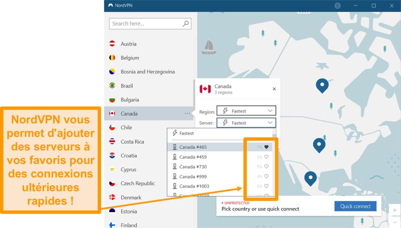Capture d'écran de l'interface NordVPN et des emplacements individuels des serveurs.