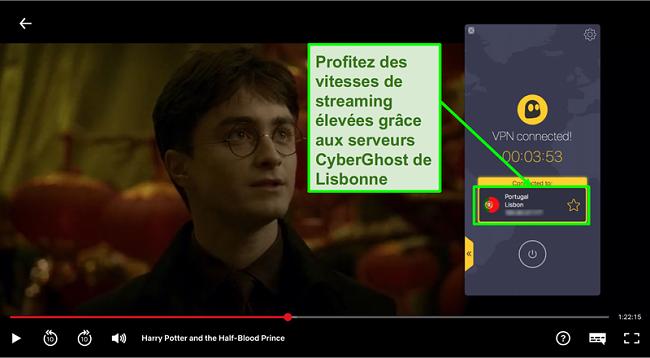 Capture d'écran de Cyberghost VPN connecté au serveur portugal et streaming Harry Potter sur Netflix