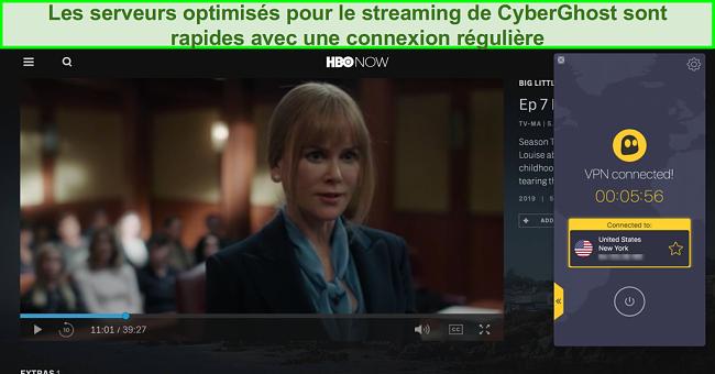Capture d'écran de HBO maintenant jouer Big Little Lies avec CyberGhost connecté à un serveur américain