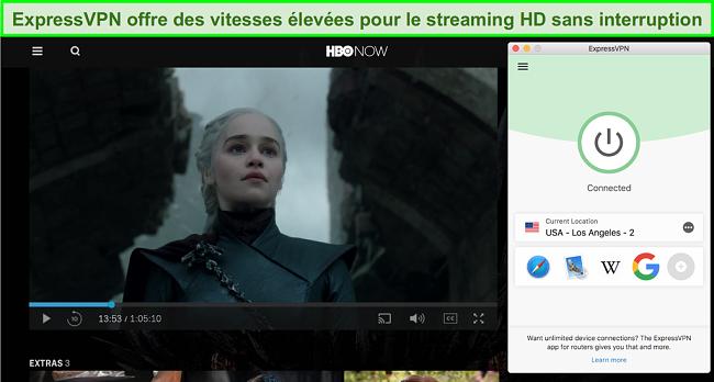 Capture d'écran de HBO maintenant jouer Game of Thrones avec ExpressVPN connecté à un serveur américain