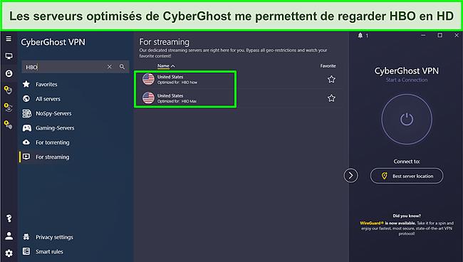 Capture d'écran de la connexion à un serveur Cyberghost optimisé pour le streaming HBO