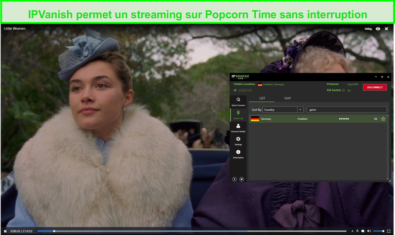 Capture d'écran de IPVanish streaming Little Women on Popcorn Time