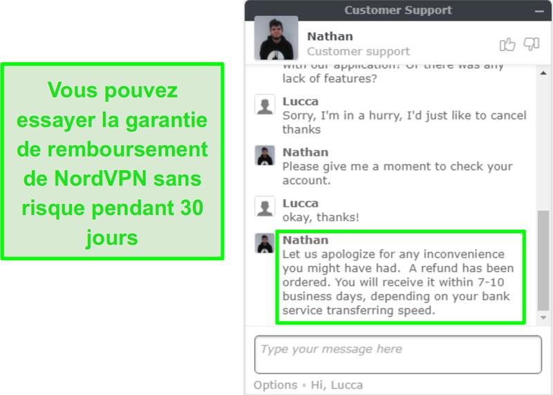 Capture d'écran du support client NordVPN approuvant une demande de remboursement via chat en direct